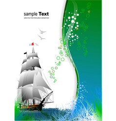 Cover for brochure with old sailing vessel vector