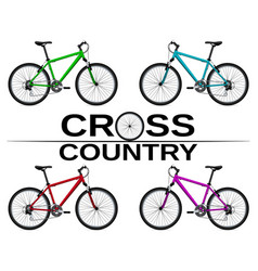 Cross-country bikes in different colors vector