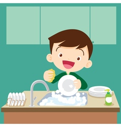 Cute boy dish washing vector