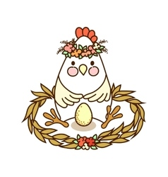 Cute chicken drawing vector image vector image