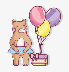 Cute wild bear with a gift and balloons vector