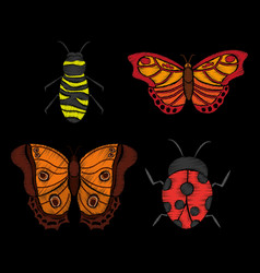 embroidery ladybug butterfly and bee textle design vector image
