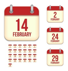 February calendar icons vector image