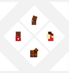 Flat icon bitter set of wrapper chocolate cocoa vector