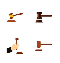 Flat icon hammer set of defense hammer law and vector