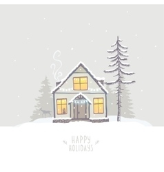 house winter vector image