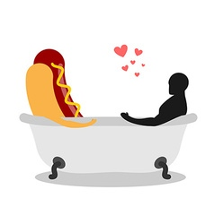 I love food Hot dog and lover in bath Man and fast vector image vector image
