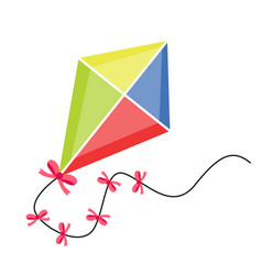 kite flying icon flat cartoon style isolated on vector image
