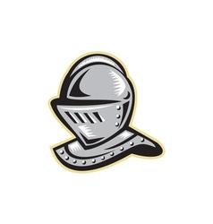 Knight helmet woodcut vector