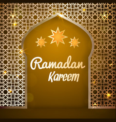 Ramadan kareem greeting card - mosque door vector