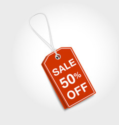 Red tag label with sale design vector