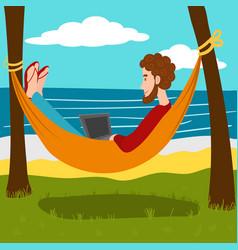 remote work at the resort cartoon vector image