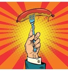 Sausage on a fork street food vector