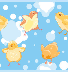 Seamless pattern with cartoon funny yellow vector