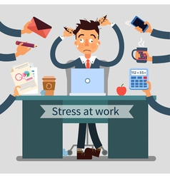 Stressed Man at Work Pulls His Hair vector image vector image