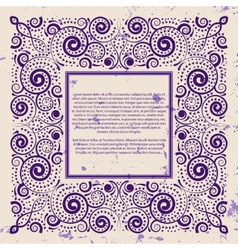 Violet frame on grunge background vector image vector image