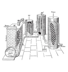 Water gas production vintage vector