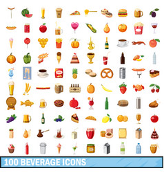100 beverage icons set cartoon style vector image