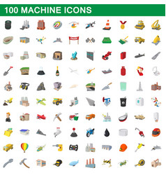 100 machine icons set cartoon style vector image vector image