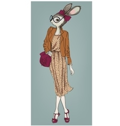 Cute fashion hipster hare girl vector