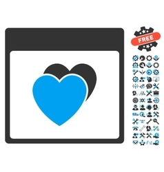Hearts calendar page icon with bonus vector