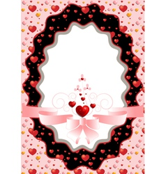 Oval frame with hearts and pink bow vector