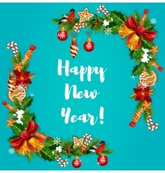 New year tree holly and garland frame vector