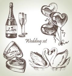 Wedding set hand drawn vector