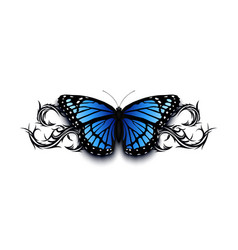 realistic butterfly on top of abstract tribal vector image
