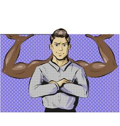 Pop art of man with power vector