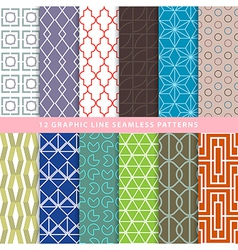 Set of graphic line seamless patterns vector