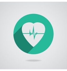 Defibrillator heart icon isolated on teal vector