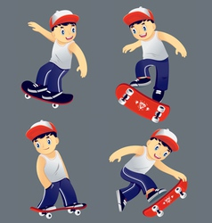 Boy skaters set vector