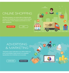 Online shopping and marketing banners vector