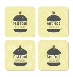Square table coasters template with hand drawn vector