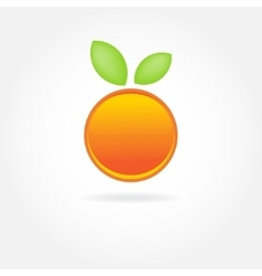 Orange fruit with green leaf logo design vector