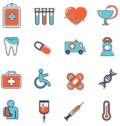 Abstract collection of flat line healthcare and vector