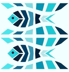 Blue mosaic fish pattern seamless vector