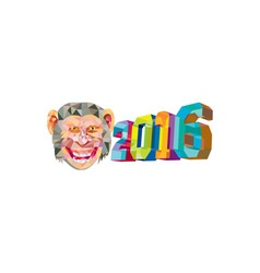Year of the monkey 2016 low polygon vector