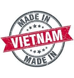 Made in vietnam red round vintage stamp vector