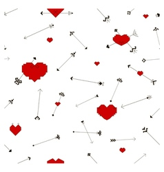 Seamless pattern with stylized hearts and arrows vector