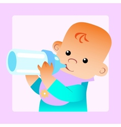 Baby eats food milk bottle vector