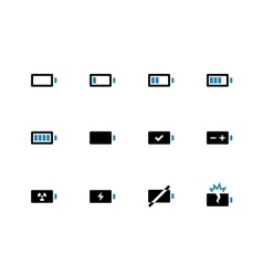 Battery duotone icons on white background vector