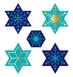Blue jewish star snowflakes vector