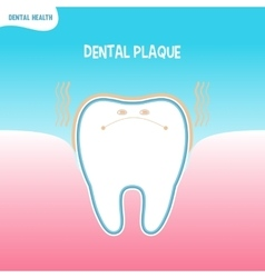 Cartoon bad tooth icon with dental plaque vector