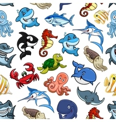 Cartoon sea animals ocean fish seamless pattern vector image vector image