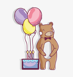 cute wild bear with a cake and balloons vector image