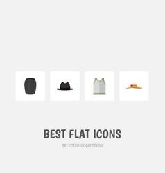 Flat icon garment set of elegant headgear stylish vector