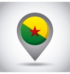 Guiana francesa flag pin vector