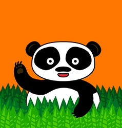 Happy panda smiling and waving vector image vector image